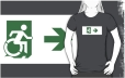 Accessible Exit Sign Project Wheelchair Wheelie Running Man Symbol Means of Egress Icon Disability Emergency Evacuation Fire Safety Adult t-shirt 22