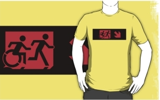 Accessible Exit Sign Project Wheelchair Wheelie Running Man Symbol Means of Egress Icon Disability Emergency Evacuation Fire Safety Adult T-shirt 222