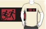 Accessible Exit Sign Project Wheelchair Wheelie Running Man Symbol Means of Egress Icon Disability Emergency Evacuation Fire Safety Adult T-shirt 223