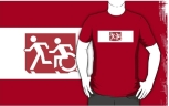 Accessible Exit Sign Project Wheelchair Wheelie Running Man Symbol Means of Egress Icon Disability Emergency Evacuation Fire Safety Adult T-shirt 225