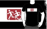 Accessible Exit Sign Project Wheelchair Wheelie Running Man Symbol Means of Egress Icon Disability Emergency Evacuation Fire Safety Adult T-shirt 226