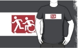 Accessible Exit Sign Project Wheelchair Wheelie Running Man Symbol Means of Egress Icon Disability Emergency Evacuation Fire Safety Adult T-shirt 227