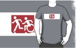 Accessible Exit Sign Project Wheelchair Wheelie Running Man Symbol Means of Egress Icon Disability Emergency Evacuation Fire Safety Adult T-shirt 228