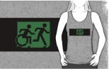Accessible Exit Sign Project Wheelchair Wheelie Running Man Symbol Means of Egress Icon Disability Emergency Evacuation Fire Safety Adult T-shirt 229
