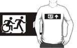 Accessible Exit Sign Project Wheelchair Wheelie Running Man Symbol Means of Egress Icon Disability Emergency Evacuation Fire Safety Adult T-shirt 230