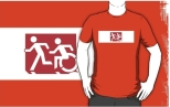 Accessible Exit Sign Project Wheelchair Wheelie Running Man Symbol Means of Egress Icon Disability Emergency Evacuation Fire Safety Adult T-shirt 231