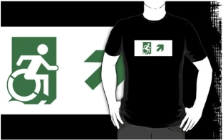 Accessible Exit Sign Project Wheelchair Wheelie Running Man Symbol Means of Egress Icon Disability Emergency Evacuation Fire Safety Adult t-shirt 23
