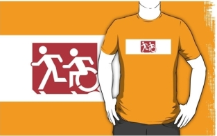 Accessible Exit Sign Project Wheelchair Wheelie Running Man Symbol Means of Egress Icon Disability Emergency Evacuation Fire Safety Adult T-shirt 232