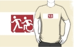 Accessible Exit Sign Project Wheelchair Wheelie Running Man Symbol Means of Egress Icon Disability Emergency Evacuation Fire Safety Adult T-shirt 233