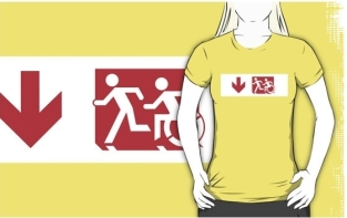 Accessible Exit Sign Project Wheelchair Wheelie Running Man Symbol Means of Egress Icon Disability Emergency Evacuation Fire Safety Adult T-shirt 234