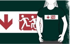 Accessible Exit Sign Project Wheelchair Wheelie Running Man Symbol Means of Egress Icon Disability Emergency Evacuation Fire Safety Adult T-shirt 236