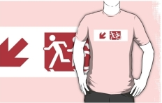 Accessible Exit Sign Project Wheelchair Wheelie Running Man Symbol Means of Egress Icon Disability Emergency Evacuation Fire Safety Adult T-shirt 240