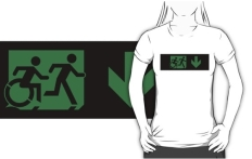 Accessible Exit Sign Project Wheelchair Wheelie Running Man Symbol Means of Egress Icon Disability Emergency Evacuation Fire Safety Adult T-shirt 241