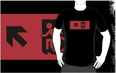 Accessible Exit Sign Project Wheelchair Wheelie Running Man Symbol Means of Egress Icon Disability Emergency Evacuation Fire Safety Adult t-shirt 24