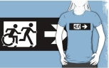 Accessible Exit Sign Project Wheelchair Wheelie Running Man Symbol Means of Egress Icon Disability Emergency Evacuation Fire Safety Adult T-shirt 242