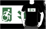 Accessible Exit Sign Project Wheelchair Wheelie Running Man Symbol Means of Egress Icon Disability Emergency Evacuation Fire Safety Adult t-shirt 25