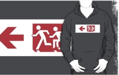 Accessible Exit Sign Project Wheelchair Wheelie Running Man Symbol Means of Egress Icon Disability Emergency Evacuation Fire Safety Adult T-shirt 252
