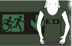 Accessible Exit Sign Project Wheelchair Wheelie Running Man Symbol Means of Egress Icon Disability Emergency Evacuation Fire Safety Adult T-shirt 253