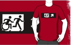 Accessible Exit Sign Project Wheelchair Wheelie Running Man Symbol Means of Egress Icon Disability Emergency Evacuation Fire Safety Adult T-shirt 254