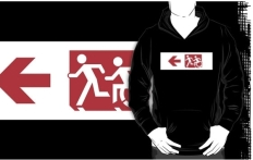 Accessible Exit Sign Project Wheelchair Wheelie Running Man Symbol Means of Egress Icon Disability Emergency Evacuation Fire Safety Adult T-shirt 255