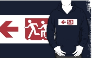 Accessible Exit Sign Project Wheelchair Wheelie Running Man Symbol Means of Egress Icon Disability Emergency Evacuation Fire Safety Adult T-shirt 256