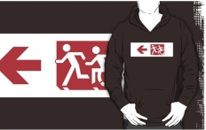 Accessible Exit Sign Project Wheelchair Wheelie Running Man Symbol Means of Egress Icon Disability Emergency Evacuation Fire Safety Adult T-shirt 257