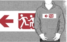 Accessible Exit Sign Project Wheelchair Wheelie Running Man Symbol Means of Egress Icon Disability Emergency Evacuation Fire Safety Adult T-shirt 258