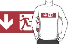 Accessible Exit Sign Project Wheelchair Wheelie Running Man Symbol Means of Egress Icon Disability Emergency Evacuation Fire Safety Adult T-shirt 26