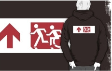Accessible Exit Sign Project Wheelchair Wheelie Running Man Symbol Means of Egress Icon Disability Emergency Evacuation Fire Safety Adult T-shirt 262