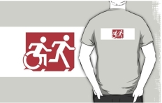 Accessible Exit Sign Project Wheelchair Wheelie Running Man Symbol Means of Egress Icon Disability Emergency Evacuation Fire Safety Adult T-shirt 264
