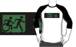 Accessible Exit Sign Project Wheelchair Wheelie Running Man Symbol Means of Egress Icon Disability Emergency Evacuation Fire Safety Adult T-shirt 265