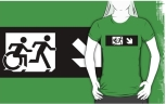 Accessible Exit Sign Project Wheelchair Wheelie Running Man Symbol Means of Egress Icon Disability Emergency Evacuation Fire Safety Adult T-shirt 266
