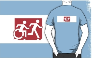 Accessible Exit Sign Project Wheelchair Wheelie Running Man Symbol Means of Egress Icon Disability Emergency Evacuation Fire Safety Adult T-shirt 268