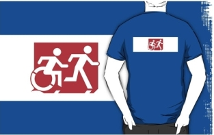 Accessible Exit Sign Project Wheelchair Wheelie Running Man Symbol Means of Egress Icon Disability Emergency Evacuation Fire Safety Adult T-shirt 269