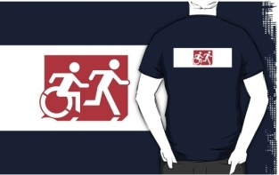 Accessible Exit Sign Project Wheelchair Wheelie Running Man Symbol Means of Egress Icon Disability Emergency Evacuation Fire Safety Adult T-shirt 270