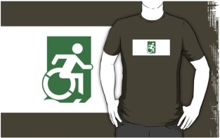 Accessible Exit Sign Project Wheelchair Wheelie Running Man Symbol Means of Egress Icon Disability Emergency Evacuation Fire Safety Adult t-shirt 27