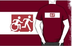 Accessible Exit Sign Project Wheelchair Wheelie Running Man Symbol Means of Egress Icon Disability Emergency Evacuation Fire Safety Adult T-shirt 272