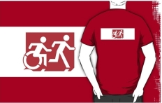 Accessible Exit Sign Project Wheelchair Wheelie Running Man Symbol Means of Egress Icon Disability Emergency Evacuation Fire Safety Adult T-shirt 273