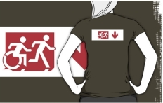 Accessible Exit Sign Project Wheelchair Wheelie Running Man Symbol Means of Egress Icon Disability Emergency Evacuation Fire Safety Adult T-shirt 274