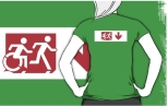 Accessible Exit Sign Project Wheelchair Wheelie Running Man Symbol Means of Egress Icon Disability Emergency Evacuation Fire Safety Adult T-shirt 276