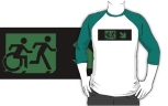Accessible Exit Sign Project Wheelchair Wheelie Running Man Symbol Means of Egress Icon Disability Emergency Evacuation Fire Safety Adult T-shirt 277