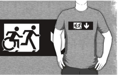 Accessible Exit Sign Project Wheelchair Wheelie Running Man Symbol Means of Egress Icon Disability Emergency Evacuation Fire Safety Adult T-shirt 278