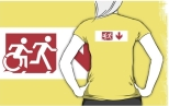 Accessible Exit Sign Project Wheelchair Wheelie Running Man Symbol Means of Egress Icon Disability Emergency Evacuation Fire Safety Adult T-shirt 279