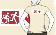 Accessible Exit Sign Project Wheelchair Wheelie Running Man Symbol Means of Egress Icon Disability Emergency Evacuation Fire Safety Adult T-shirt 280