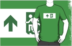 Accessible Exit Sign Project Wheelchair Wheelie Running Man Symbol Means of Egress Icon Disability Emergency Evacuation Fire Safety Adult t-shirt 28