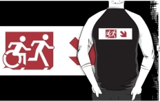 Accessible Exit Sign Project Wheelchair Wheelie Running Man Symbol Means of Egress Icon Disability Emergency Evacuation Fire Safety Adult T-shirt 283