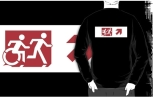Accessible Exit Sign Project Wheelchair Wheelie Running Man Symbol Means of Egress Icon Disability Emergency Evacuation Fire Safety Adult T-shirt 286