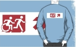 Accessible Exit Sign Project Wheelchair Wheelie Running Man Symbol Means of Egress Icon Disability Emergency Evacuation Fire Safety Adult T-shirt 287