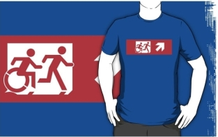 Accessible Exit Sign Project Wheelchair Wheelie Running Man Symbol Means of Egress Icon Disability Emergency Evacuation Fire Safety Adult T-shirt 288