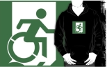Accessible Exit Sign Project Wheelchair Wheelie Running Man Symbol Means of Egress Icon Disability Emergency Evacuation Fire Safety Adult T-shirt 289